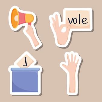 Stemmen en democratie icon set