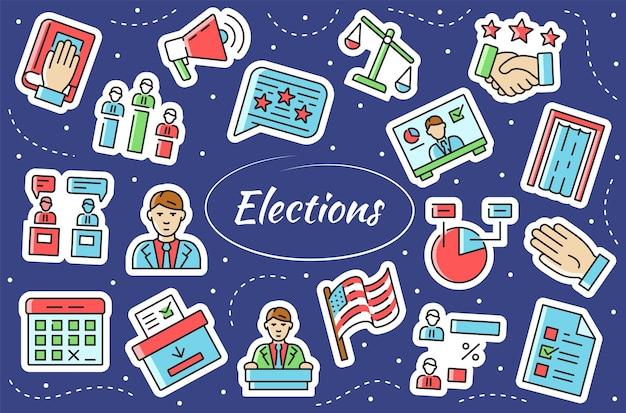 Stemmen - stickerset. symbolen in een eenvoudige vlakke stijl.
