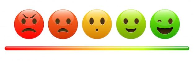 Stemmingsmeter van rood boos gezicht tot vrolijke groene emoji