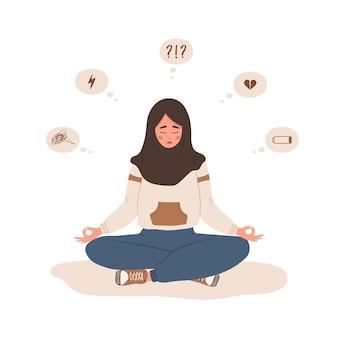 Stemmingsstoornis. triest islamitische vrouw zitten in lotushouding. mentale gezondheid.