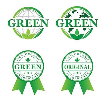 Stempel groene organische set logo ontwerpen