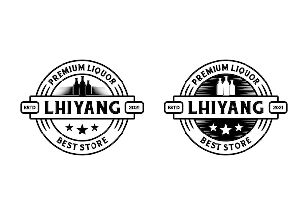 Stempel label badge ronde ronde. vintage drankfles logo ontwerpsjabloon inspiratie