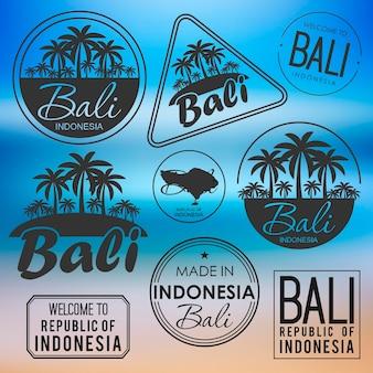 Stempel of label met de naam van het eiland bali vectorillustratie