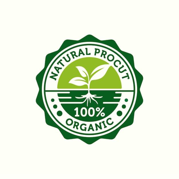 Stempel voor 100% biologisch en natuurlijk product label badge of zegel sticker logo ontwerpsjabloon