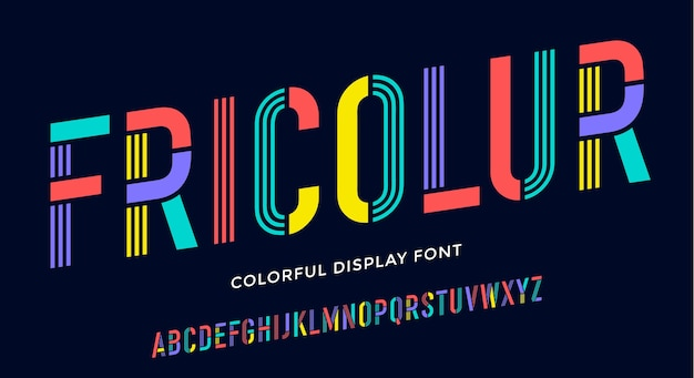 Stencil lettertype. kleurrijk verkort alfabet en lijndoopvont.
