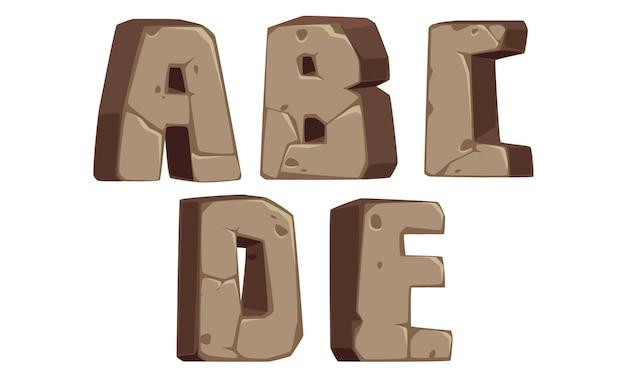 Stenen alfabetten a, b, c, d, e