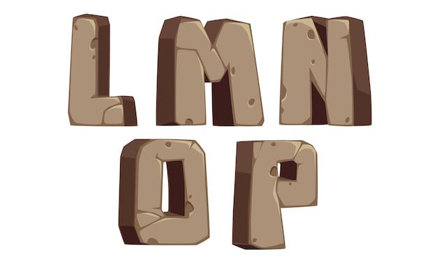 Stenen alfabetten l, m, n, o, p