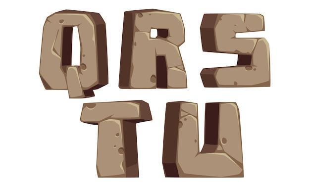 Stenen alfabetten q, r, s, t, u