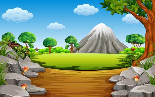 Stenen berg en hoge boom