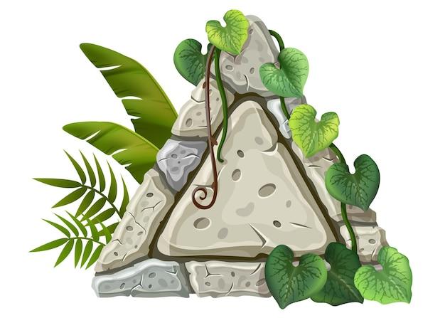 Stenen bord decoratie liaanbladeren