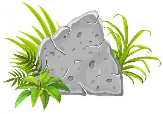 Stenen bord decoratie tropische bladeren en gras.
