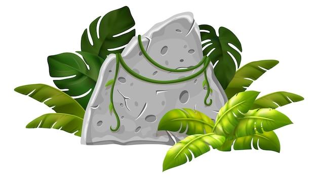 Stenen bord decoratie tropische bladeren en gras