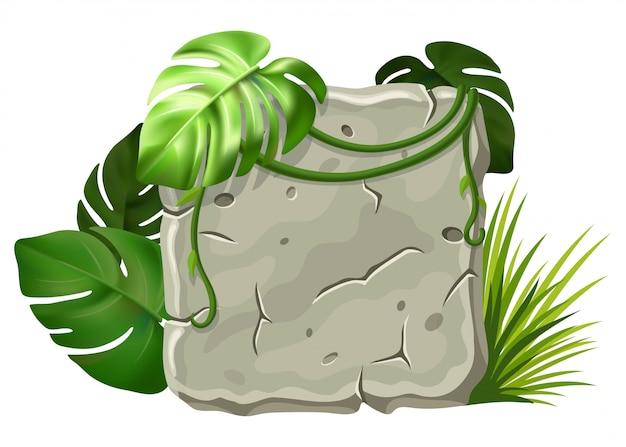 Stenen bord met liaan takken.