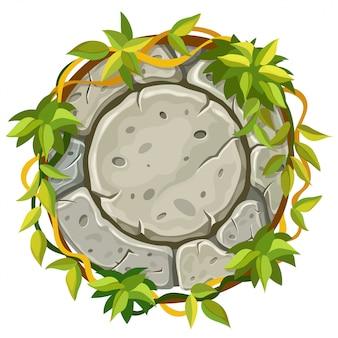 Stenen bord met takken en bladeren van liaan.