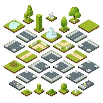 Stenen en aardrotsen die met beeldverhaal groen gras worden geplaatst. vectorsteen en rots vastgestelde die illustraties op witte achtergrond worden geïsoleerd