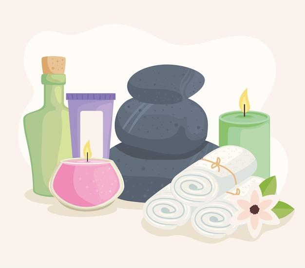 Stenen en spa-pictogrammen