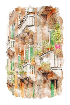 Stenen gebouw aquarel balkon en bloemen aquarel digitale print wand decor