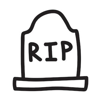 Stenen graf, grafsteen rip met een kruis halloween lineair vectorpictogram in doodle schetsstijl