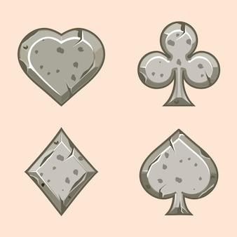Stenen iconen van speelkaarten kaarten set