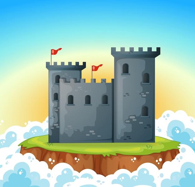 Stenen kasteel op het eiland