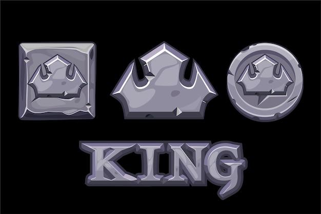 Stenen logo is koning, kroonpictogram, vierkant en munt.