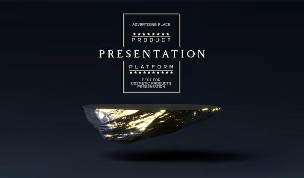 Stenen podium voor productpresentatie. marmer zwart en gouden sokkel, productstandaard. minimalistische plaatsing van objecten, cosmetisch product stenen plaatplatform.