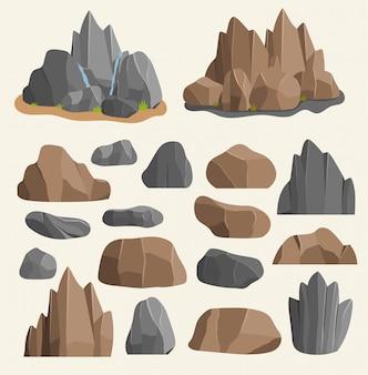 Stenen rotsen in cartoon stijl groot gebouw minerale stapel. boulder natuurlijke rotsen en stenen graniet ruwe illustratie rotsen en stenen natuur kei geologie grijze cartoon materiaal