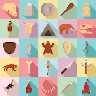 Stenen tijdperk iconen set, vlakke stijl