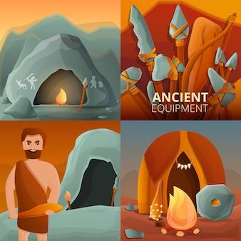Stenen tijdperk illustratie ingesteld op cartoon stijl