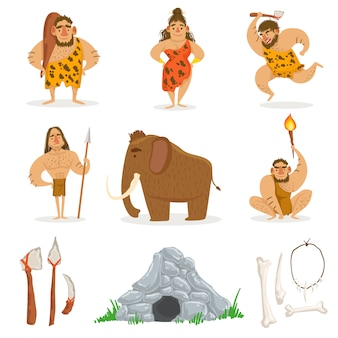 Stenen tijdperk stam mensen en verwante objecten