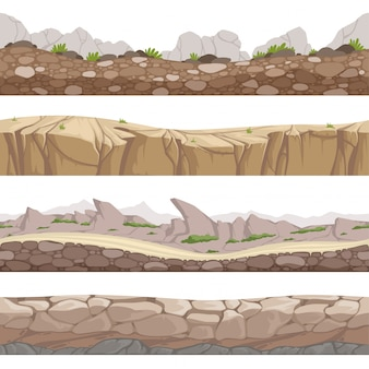Stenen weg naadloos. rocky game s met verschillende soorten stenen cartoon collectie