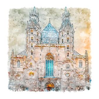 Stephansdom wenen oostenrijk aquarel schets hand getrokken illustratie
