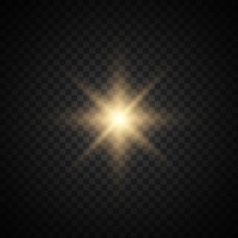 Ster barstte uit met glitters. gouden glitter heldere ster.