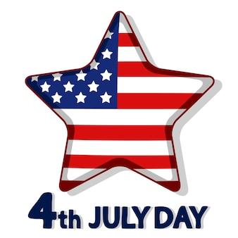 Ster geschilderd in de amerikaanse vlag op wit. 4 juli onafhankelijkheidsdag