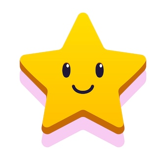 Ster glimlach gezicht cartoon stijl voor kinderen spel verjaardag vector eps