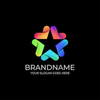 Ster kleurrijke logo sjabloon