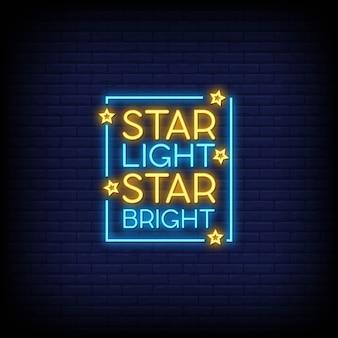 Ster licht ster heldere neonreclames tekst