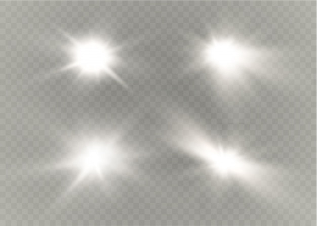 Ster op een transparante achtergrond, lichteffect, illustratie. barstte van de sprankeling
