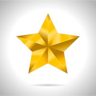 Ster realistische metaal gouden geïsoleerde gele 3d kerstmis