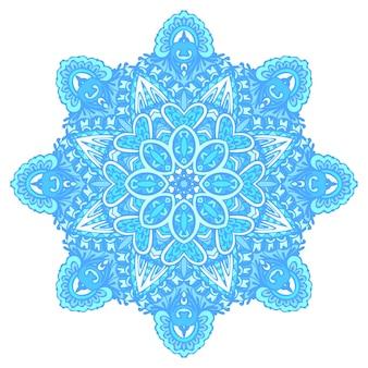 Ster vector blauw en wit patroon met arabesken en bloemen elementen