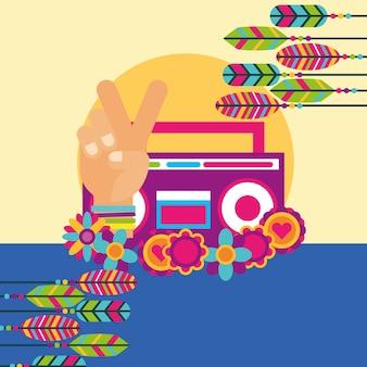 Stereo radio hand vrede en liefde bloemen veer vrije geest