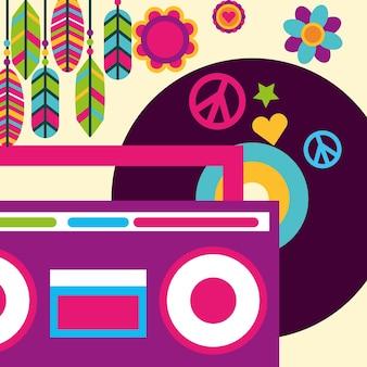 Stereo radio vinyl muziek veer bloemen hippie vrije geest
