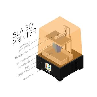 Stereolithografie 3d-printer isometrische illustratie