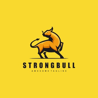 Sterk bull concept illustratie vector sjabloon
