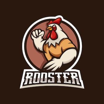 Sterk haan mascotte logo-ontwerp