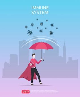 Sterk immuunsysteemconcept. krachtig mankarakter onder rode paraplu weerspiegelt virus of besmettelijke bacteriën.