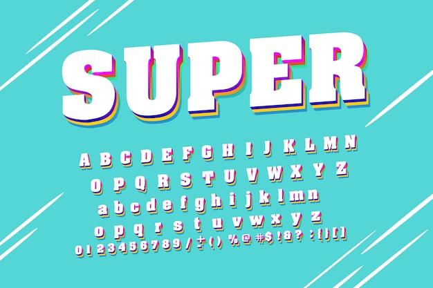 Sterk lettertype. wit modern alfabet