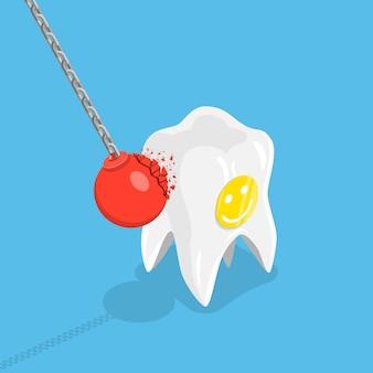 Sterk tanden plat isometrisch vectorconcept.