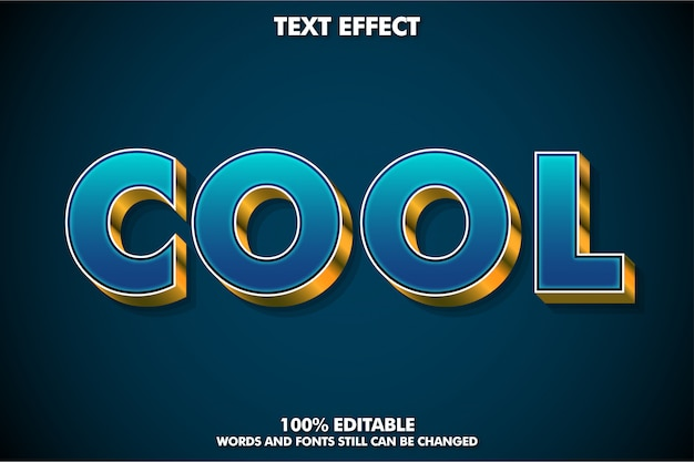 Sterk vetgedrukt 3d-lettertype-effect met gouden extrudeer en cool woord