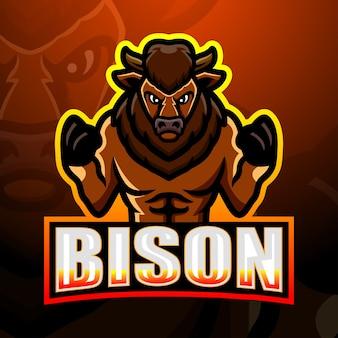 Sterke bizon mascotte esport illustratie